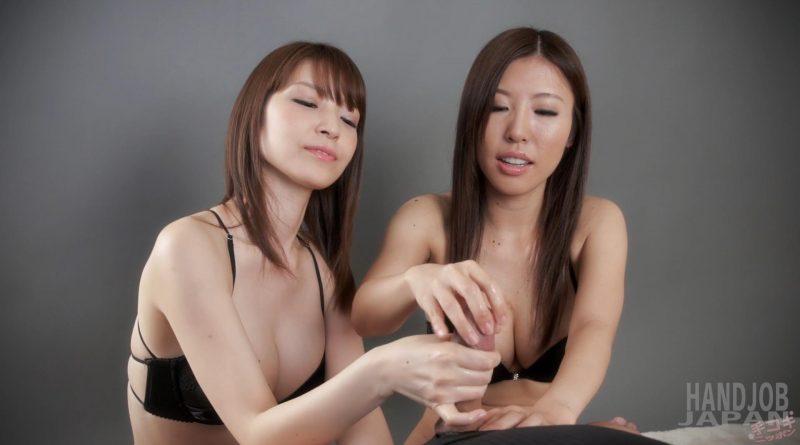 Sakura Aoi and Rin Miura's double handjob – Handjob Japan