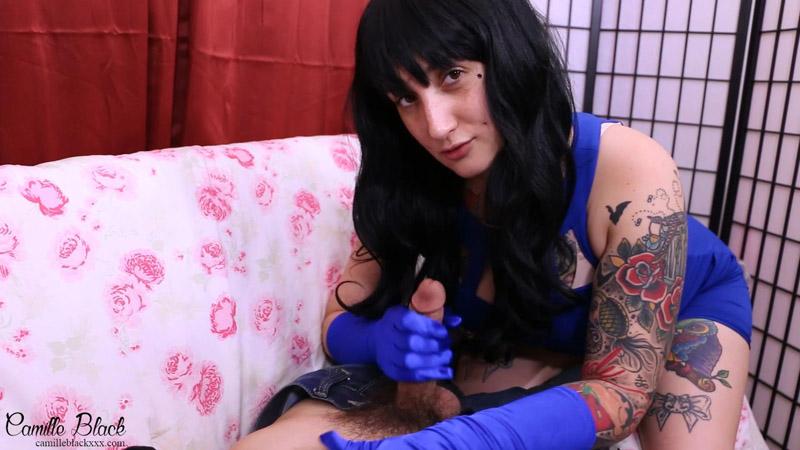 Satin Glove Cock Stroker – Camille Black