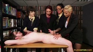 Studying In The Library – Pure CFNM – Ella Bella, Katie Olsen, Romana Ryder, Stacey Duvall