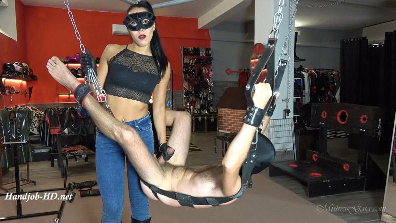 Mistress Gaia – Black Latex Handjob