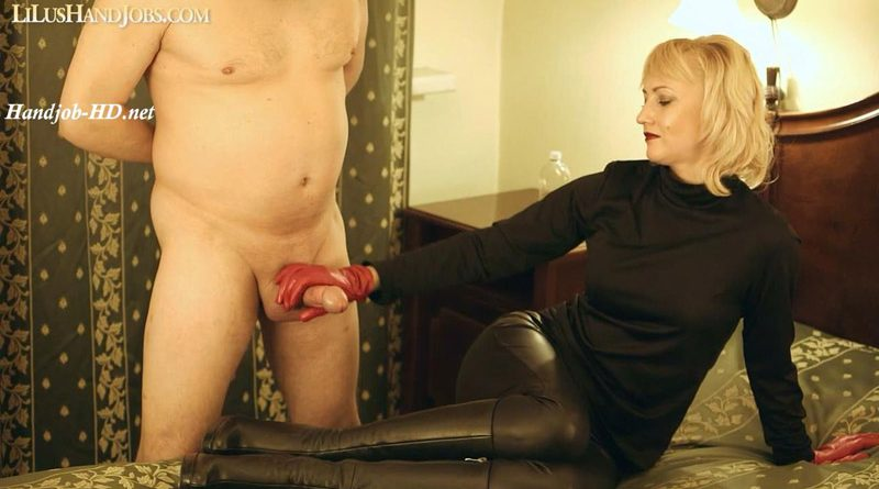 Femdom Red Leather Gloves HandJob with Cock & Balls Slapping – I JERK OFF 100 Strangers hommme HJ – Lilu