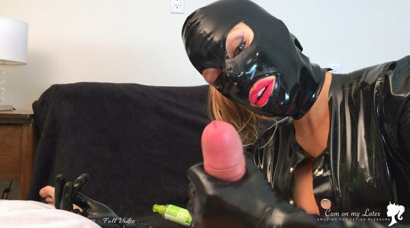 Latex Mistress Pump his slave cock and Ruin His Orgasm – Cum on my Latex – Latex Mistress