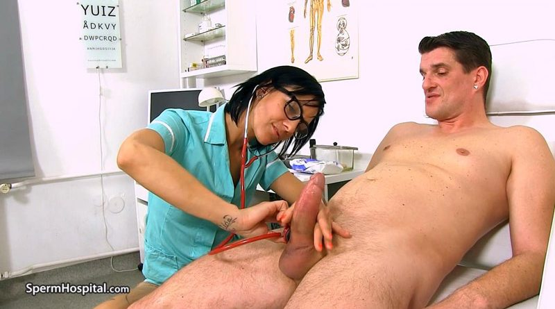 Leggy doctor Milf Bibi sucking fat dick at sperm clinic – Sperm Hospital