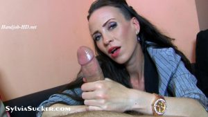Uninterrupted Enchanting Eye Contact Secretary left hand Handjob and Blowjob Indulgence with Very Slow and Gently Long Post-Cum Cock Pampering! POV – Sylvia Chrystall