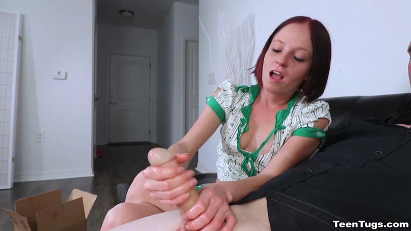 She Gave Him An Intense Cock Milking Teen Tugs Alyssa Hart