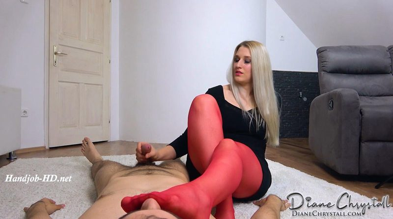 Foot Smelling Handjob in Red Pantyhose – Diane Chrystall