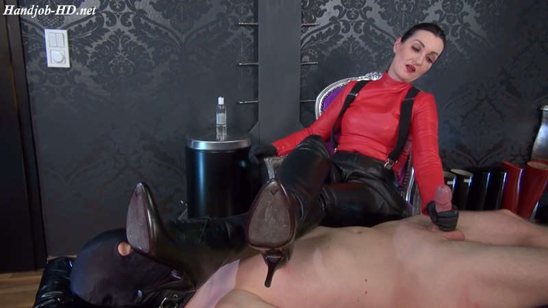 Ruined orgasm handjob – Under my leather boots! Boots Mistress Lady Victoria Valente