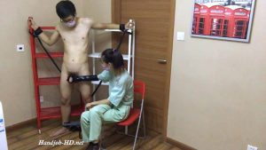 Chinese Shishi tied up and glove handjob – Shishi domination