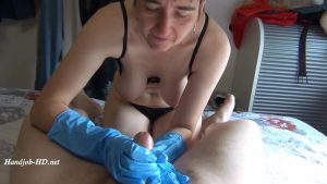 Handjob with long latex Gloves – German Hot Milf