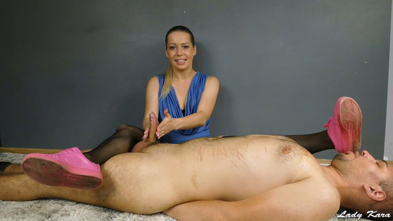 Teasing with dirty sneakers and smelly pantyhose - Lady Kara
