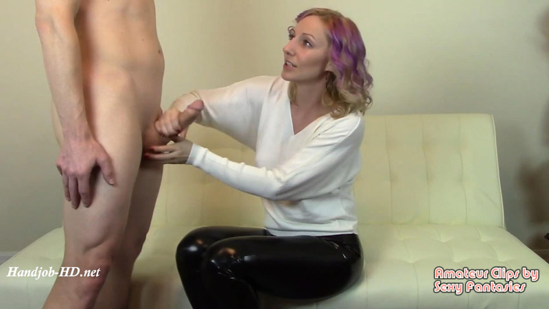 Cashmere Sweater Worn for CFNM Handjob Until Cumshot Goes All Over PVC Pants – Brittany Lynn