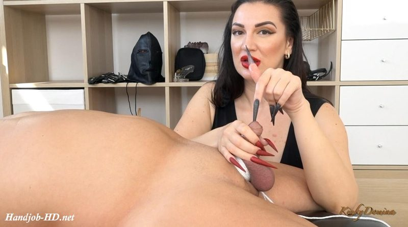 Long Nails CBT Handjob feat Black and Red Nails – KinkyDomina Long Sharp Fingernails