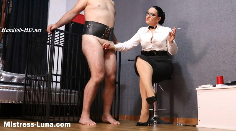 Slave milked by his Owner and asked to drink his cum – Mistress Luna