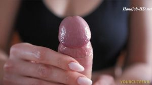 Cute Girlfriend Gives Good Sensual Oil Handjob Pov Close-Up – YourCuteEvil