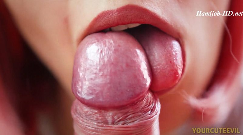 Slowly Blowjob & Tongue Play, Licking Frenulum, Close Up POV – YourCuteEvil