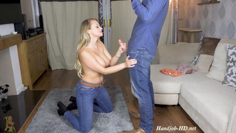 Handjob and BJ in Jeans – Side Angle – PeachySkye