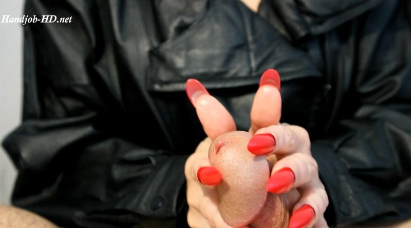 Handjobs long red hails with leather sound – HJ Goddess TEASE