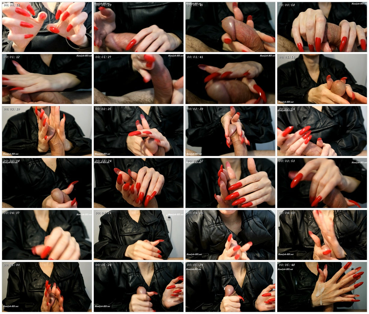 Handjobs long red hails with leather sound - HJ Goddess TEASE_scrlist