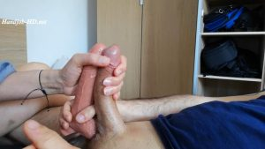 A two cocks handjob with a 7 inches dildo – Solemates