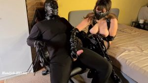Tied Up & Gagged Slave Painfully Denied By Cruel Leather Dominatrix (Full) – Miss Gabriella