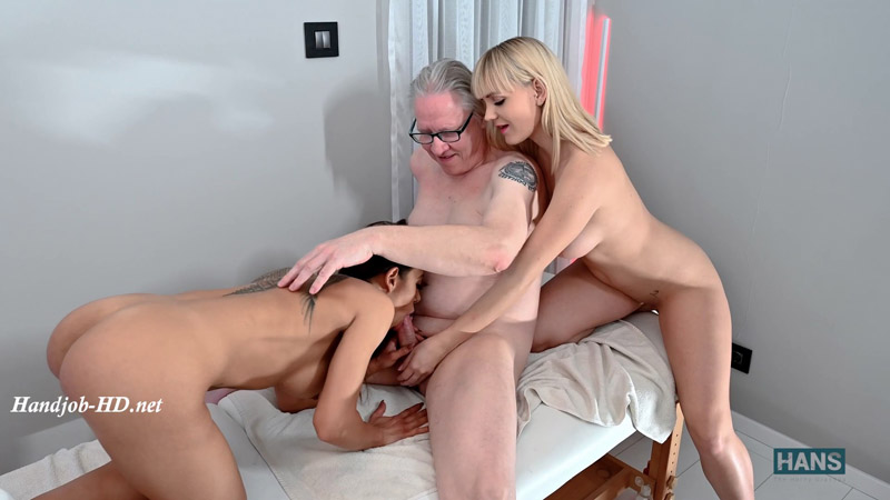 Double massage with happy ending – Grandpa Hans