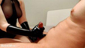 Girlfriend gives a latex glove handjob – StrawberryFrog