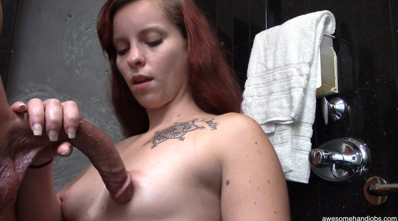 Pretty Readhead Kisses My Curved Cock – Awesome Handjobs