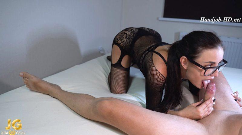 Brunette Sucking and Handjob Big Cock – Julia Gold