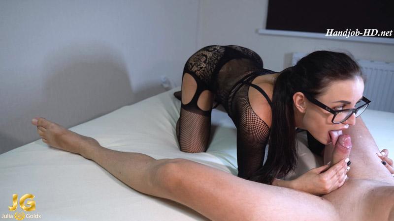Brunette Sucking and Handjob Big Cock - Julia Gold