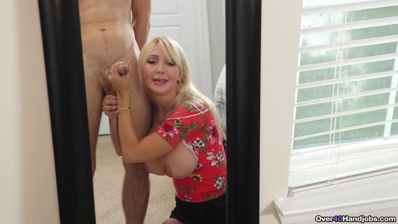Milf Cock Milking In Front Of Mirror - Over 40 Handjobs - Victoria Lobov