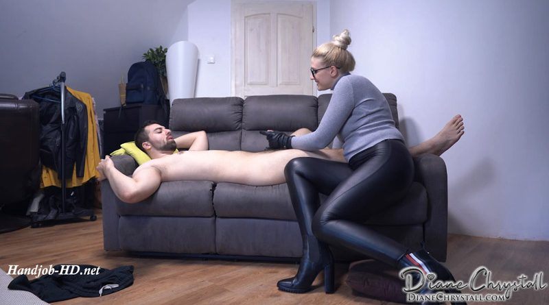 Mommy caught you! Leather glove handjob – Diane Chrystall