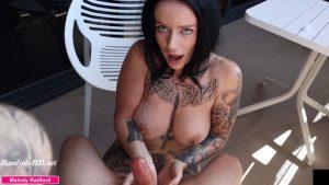 Big Tit Step MILF Gives Amazing Mature Experienced Sensual Oiled Up Handjob on the Balcony POV – Melody Radford
